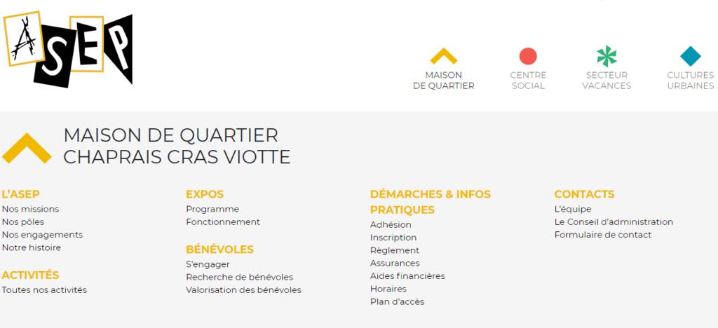 """Illustration de la partie supérieure d'une page de contenu de l'ASEP, avec l'exemple ici d'une page du secteur """"Maison de quartier"""". Le but est de montrer le fonctionnement du menu supérieur."""