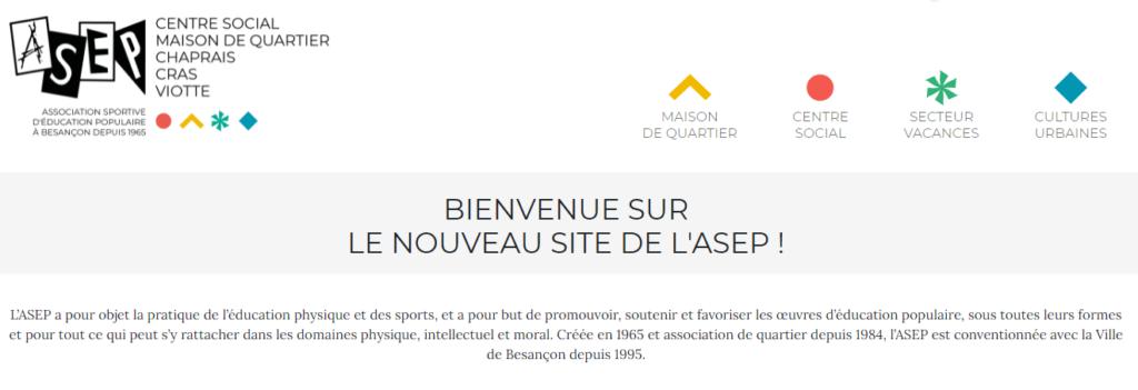 Extrait du site de l'ASEP, représentant le logo en haut à gauche, différents pictogrammes correspondant aux 4 secteurs d'activité de l'ASEP, et un bref aperçu de l'introduction présente en haut de la page d'accueil.